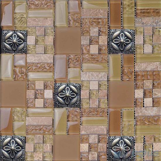 Beige Maze Glass Mix Resin Mosaic VB-GRM97