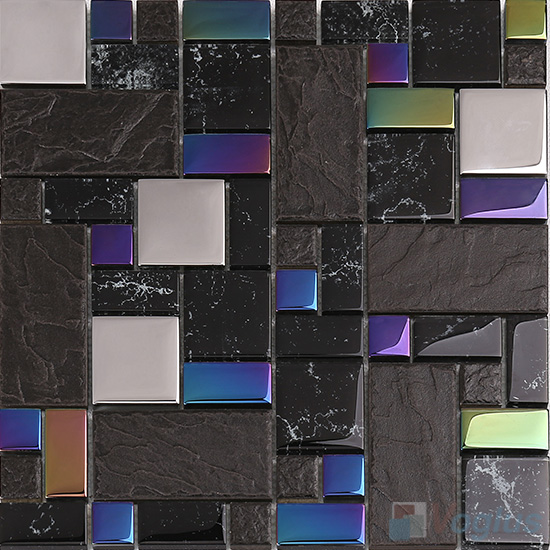 Black Magic French Pattern Glass Ceramic Mosaic VB-GCM94