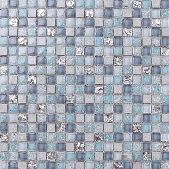 Blue-gray 15x15mm Glass Mix Ceramic Mosaic VB-GCA96