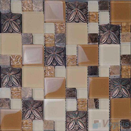 Bronze Maze Glass Mix Resin Mosaic VB-GRM95