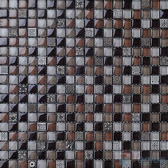 Brown Ease 15x15mm Glass Mix Resin Mosaic Tiles VB-GRA97