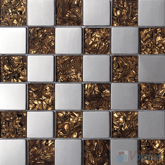Brown Laminated 48x48mm Classic Glass Mosaic Mixed Metal VB-GME97