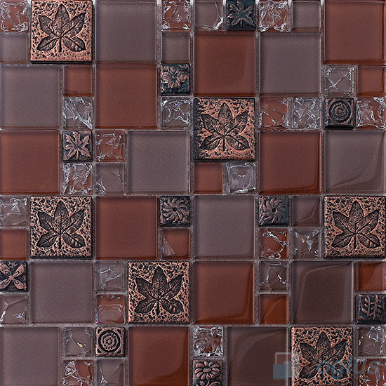 Burnt Umber Magic French Pattern Glass Ceramic Mosaic VB-GCM89