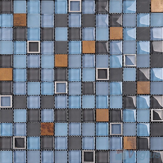 Carolina Blue 1x1 Glass Mix Metal Mosaic Tiles VB-GMB98