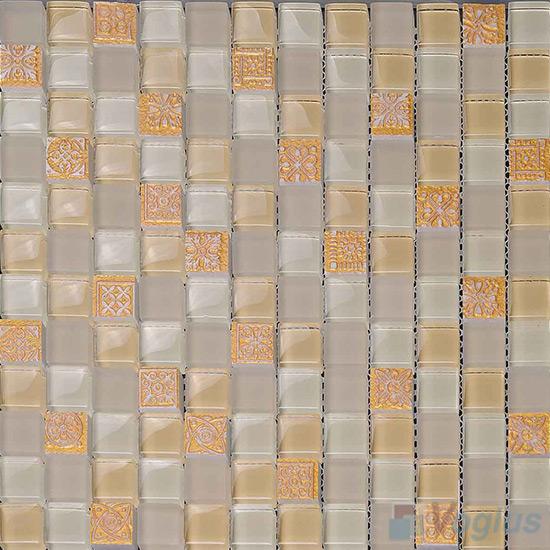 Champagne 23x23mm Glass Mosaic Mixed Resin VB-GRB93