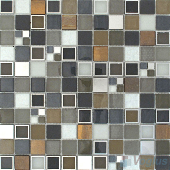 Charcoal 1x1 Glass Mix Metal Mosaic Tiles VB-GMB89