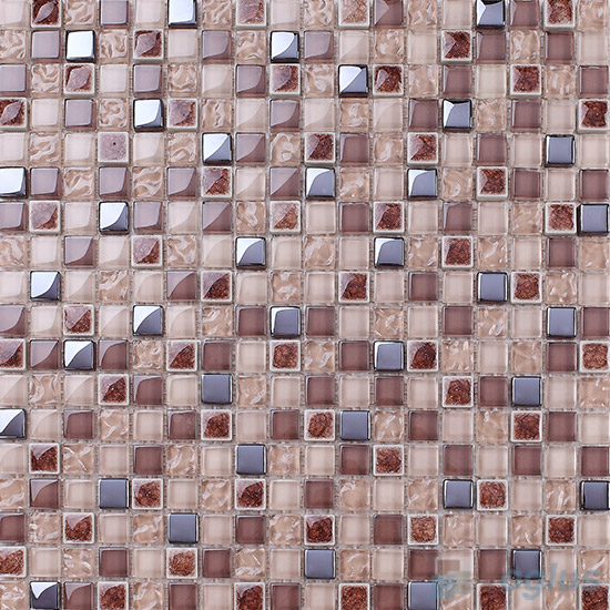 Chocolate 15x15mm Glass Mix Ceramic Mosaic VB-GCA97