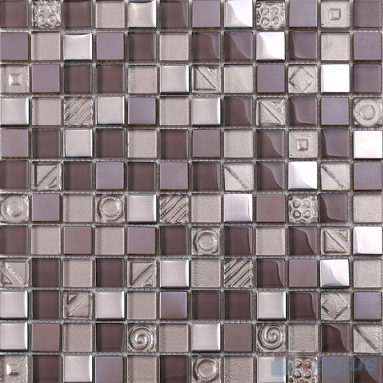 Chocolate 1x1 Glass Mix Metal Mosaic Tiles VB-GMB92