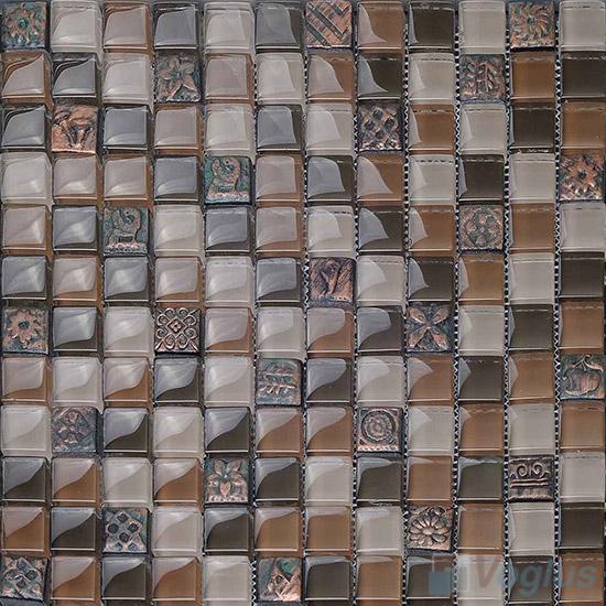 Chocolate 23x23mm Glass Mosaic Mixed Resin VB-GRB99