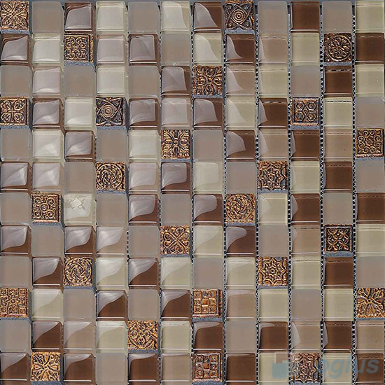 Coffee 23x23mm Glass Mosaic Mixed Resin VB-GRB97