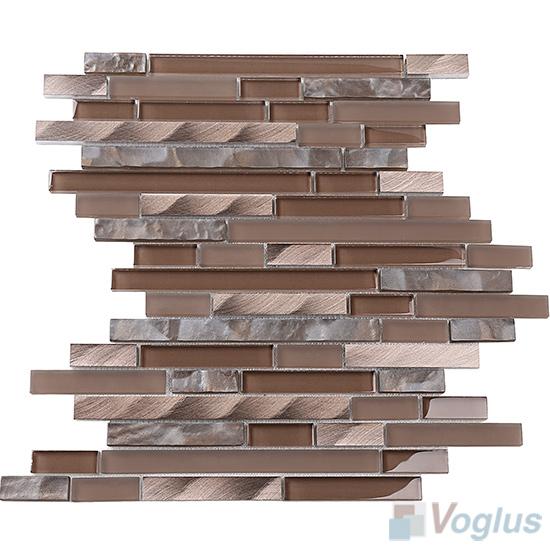 Coffee Bullet Linear Glass Metal Mosaic Tiles VB-GML96