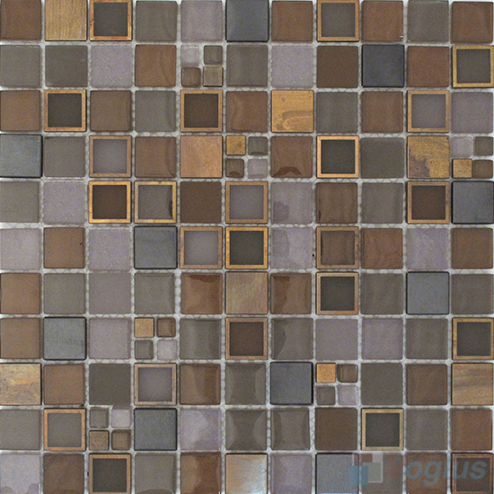 Copper 1x1 Glass Metal Mosaic Tiles VB-GMB87
