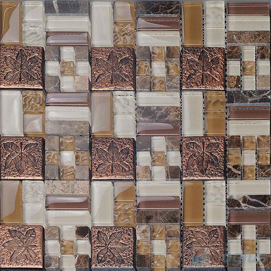 Copper Maze Glass Mix Resin Mosaic VB-GRM96
