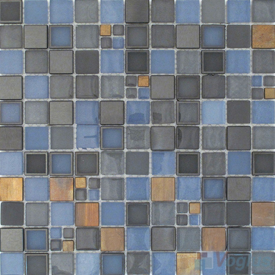 Cornflower Blue 1x1 Glass Metal Mosaic Tiles VB-GMB86