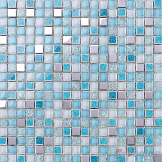 Cyan 15x15mm Glass Mix Ceramic Mosaic VB-GCA95