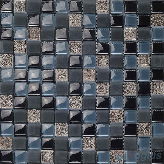 Dark Role 23x23mm Glass Mosaic Mixed Resin VB-GRB96