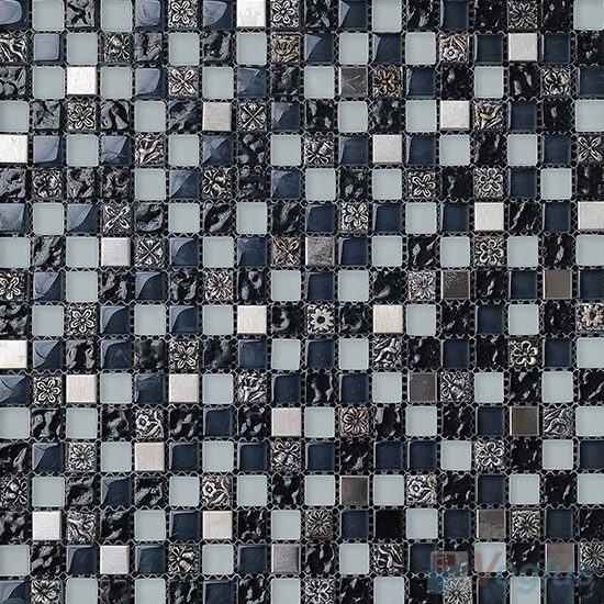 Dwyner 15x15mm Glass Mix Resin Mosaic Tiles VB-GRA96