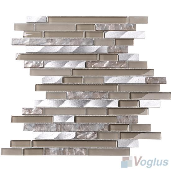 Ecru Bullet Linear Glass Metal Mosaic Tiles VB-GML93