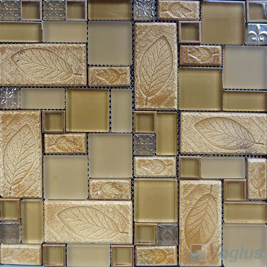 Ecru Magic French Pattern Glass Ceramic Mosaic VB-GCM96