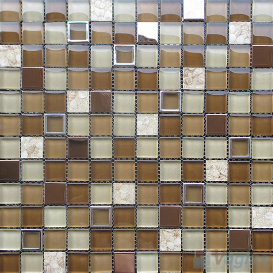 Field Drab 1x1 Glass Mix Metal Mosaic Tiles VB-GMB97