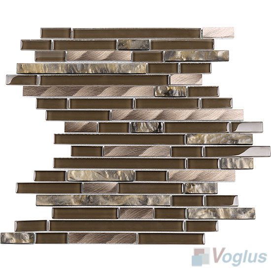 Field Drab Bullet Linear Glass Metal Mosaic Tiles VB-GML97