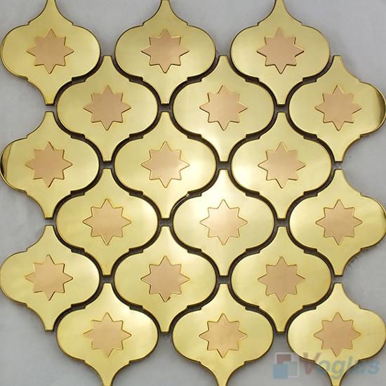 Gold Lantern Stainless Steel Metal Mosaic VM-SS96