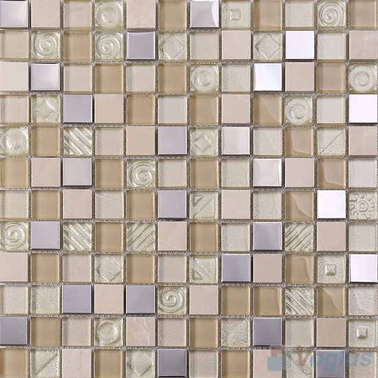 Ivory 1x1 Glass Mix Metal Mosaic Tiles VB-GMB90