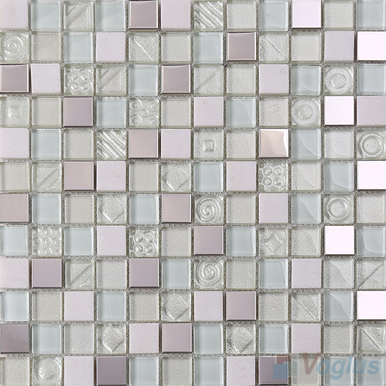 Light Honeydew 1x1 Glass Mix Metal Mosaic Tiles VB-GMB91