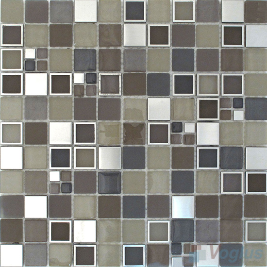 Light Olive 1x1 Glass Metal Mosaic Tiles VB-GMB85