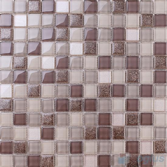 Liver 1x1 Glass Ceramic Mosaic Tiles VB-GCB95