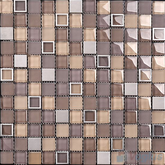 Liver 1x1 Glass Mix Metal Mosaic Tiles VB-GMB96
