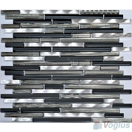 Navy Bullet Linear Glass Metal Mosaic Tiles VB-GML90