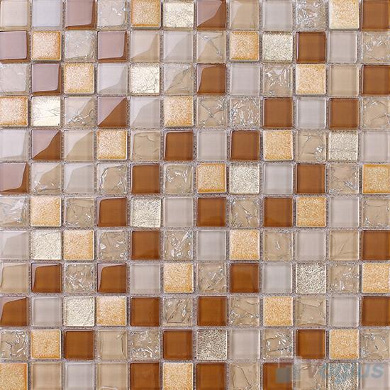 Ochre 1x1 Glass Ceramic Mosaic Tiles VB-GCB96