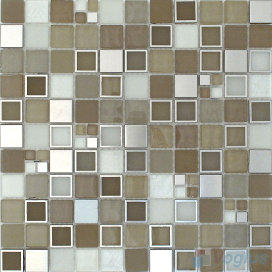 Olive 1x1 Glass Metal Mosaic Tiles VB-GMB88