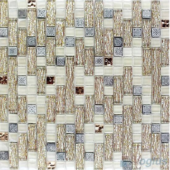 Pearl Linear Glass Resin Mosaic Tiles VB-GRL97