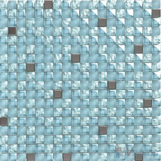 Power Blue 15x15mm Glass Metal Mix Mosaic VB-GMA98
