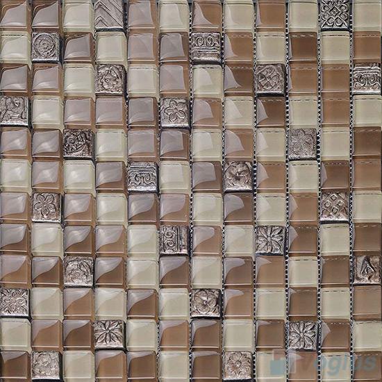 Raw Umber 23x23mm Glass Mosaic Mixed Resin VB-GRB92
