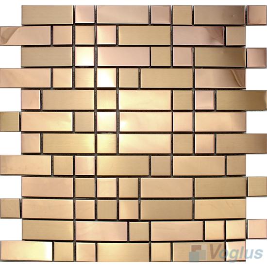 Rose Gold Subway Stainless Steel Metal Mosaic VM-SS87
