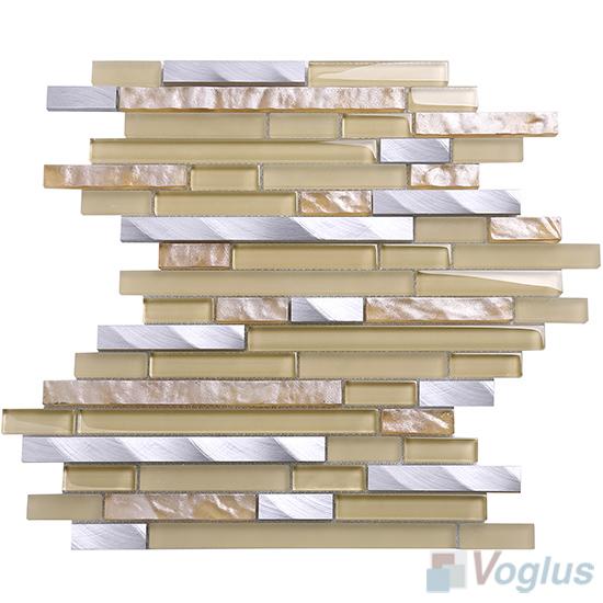 Sand Bullet Linear Glass Metal Mosaic Tiles VB-GML94