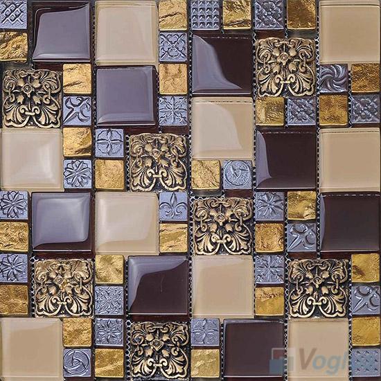 Seal Brown Maze Glass Mix Resin Mosaic VB-GRM94
