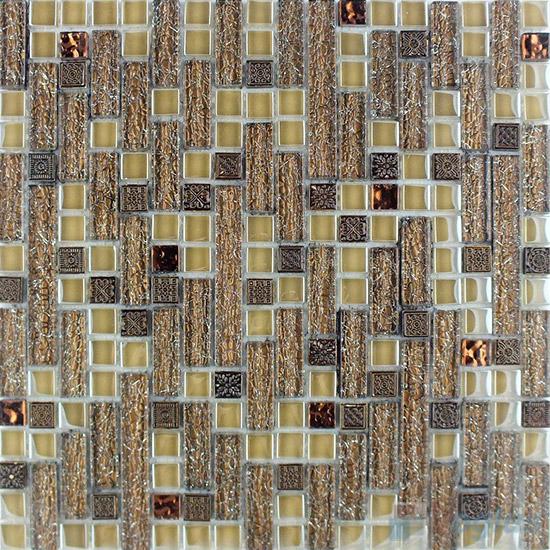 Sepia Linear Glass Resin Mosaic Tiles VB-GRL98