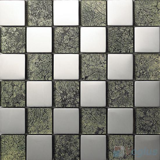 Silver 48x48mm Classic Glass Mosaic Mixed Metal VB-GME98