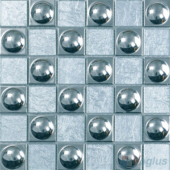 Silver Dome 48x48mm Classic Glass Mosaic Mixed Metal VB-GME94