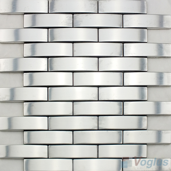 Silver Subway Camber Stainless Steel Metal Mosaic VM-SS85