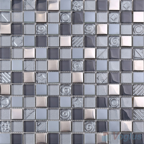 Slate Gray 1x1 Glass Mix Metal Mosaic Tiles VB-GMB94