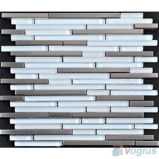 Snow Bullet Linear Glass Metal Mosaic Tiles VB-GML85