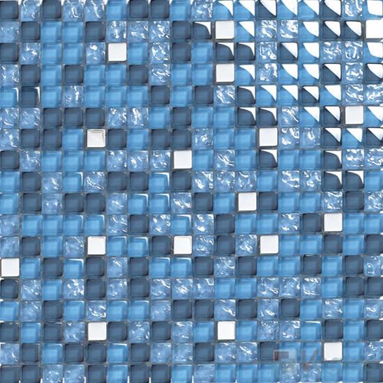 Steel Blue 15x15mm Glass Metal Mix Mosaic VB-GMA96