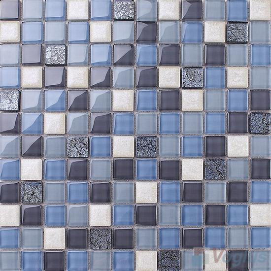 Steel Blue 1x1 Glass Ceramic Mosaic Tiles VB-GCB98