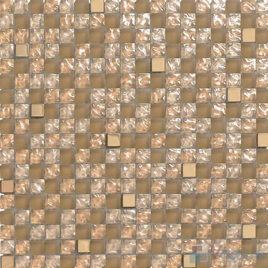 Tan 15x15mm Glass Metal Mix Mosaic VB-GMA99