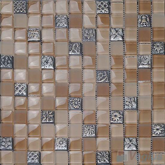 Tan 23x23mm Glass Mosaic Mixed Resin VB-GRB94